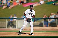 Kane County Cougars first baseman Yoel Yanqui (29) during a game against the West Michigan Whitecaps on July 19, 2018 at Northwestern Medicine Field in Geneva, Illinois.  Kane County defeated West Michigan 8-5.  (Mike Janes/Four Seam Images)