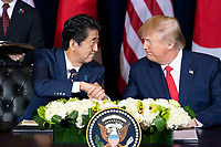President Donald J. Trump participates in a trade agreement signing ceremony with Japan Prime Minister Shinzo Abe Wednesday, Sept. 25, 2019, at the InterContinental New York Barclay in New York City. (Official White House Photo by Joyce N. Boghosian)