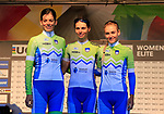 Slovenian team at sign on for the start of the Women Elite Road Race of the UCI World Championships 2019 running 149.4km from Bradford to Harrogate, England. 28th September 2019.<br /> Picture: Eoin Clarke | Cyclefile<br /> <br /> All photos usage must carry mandatory copyright credit (© Cyclefile | Eoin Clarke)