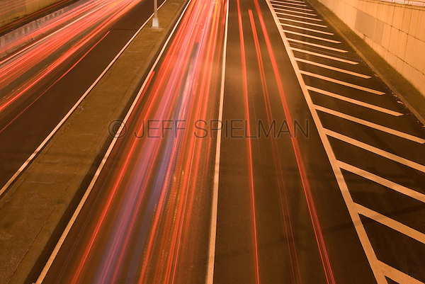 Highway at Night with Automobile LIght Trails, First Avenue, Midtown Manhattan, New York City, New York State, USA