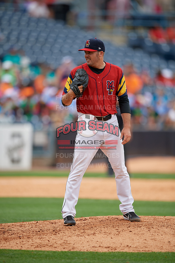 Toledo Mud Hens pitcher Caleb Thielbar (25) during an International League game against the Durham Bulls on July 16, 2019 at Fifth Third Field in Toledo, Ohio.  Durham defeated Toledo 7-1.  (Mike Janes/Four Seam Images)
