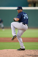 Tampa Tarpons pitcher Wellington Diaz (30) during Game Two of the Low-A Southeast Championship Series against the Bradenton Marauders on September 22, 2021 at LECOM Park in Bradenton, Florida.  (Mike Janes/Four Seam Images)