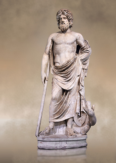 """Statue of Esculape or Asclepius - a second century AD Roman sculpture. Asclepius represents the healing aspect of the medical arts, his daughters included Hygieia, """"Hygiene"""" the goddess/personification of health, cleanliness, and sanitation as well as Iaso, the goddess of recuperation from illness and Aceso the goddess of the healing process.  The Albani Collection, Inv No.  Ma 929, Louvre Museum, Paris."""