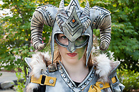 Female Warrior Wearing Ram Helmet & Armor, Renton City Comicon 2017, Washington, USA.