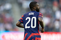 KANSAS CITY, KS - JULY 11: Shaq Moore #20 of the United States during a game between Haiti and USMNT at Children's Mercy Park on July 11, 2021 in Kansas City, Kansas.