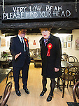 © Joel Goodman - 07973 332324 . 17/04/2015 . Chester , UK . Chris Matheson and Eddie Izzard inside the Tudor House coffee shop , campaigning in the City of Chester constituency for the Labour Party . Photo credit : Joel Goodman