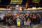 NASCAR Camping World Truck Series<br /> winstaronlinegaming.com 400<br /> Texas Motor Speedway, Ft. Worth, TX USA<br /> Friday 9 June 2017<br /> Christopher Bell, JBL Toyota Tundra, celebrates in Victory Lane.<br /> World Copyright: John K Harrelson<br /> LAT Images<br /> ref: Digital Image 17TEX2jh_02464