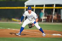Burlington Royals first baseman Chris DeVito (34) on defense against the Kingsport Mets at Burlington Athletic Stadium on July 18, 2016 in Burlington, North Carolina.  The Royals defeated the Mets 8-2.  (Brian Westerholt/Four Seam Images)