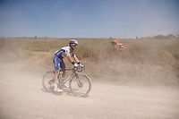 defending champion Julian Alaphilippe (FRA/Deceuninck - QuickStep) confronted with a flat front tire, which makes descending on gravel even trickier... <br /> <br /> 14th Strade Bianche 2020<br /> Siena > Siena: 184km (ITALY)<br /> <br /> delayed 2020 (summer!) edition because of the Covid19 pandemic > 1st post-Covid19 World Tour race after all races worldwide were cancelled in march 2020 by the UCI