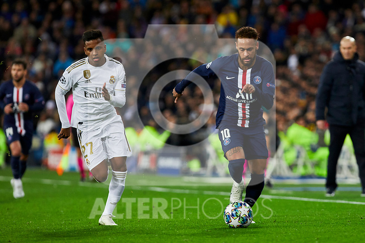 Rodrygo Goes of Real Madrid and Neymar Jr of Paris Saint-Germain FC during UEFA Champions League match between Real Madrid and Paris Saint-Germain FC at Santiago Bernabeu Stadium in Madrid, Spain. November 26, 2019. (ALTERPHOTOS/A. Perez Meca)