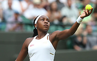 Cori Gauff (USA) during her match against Venus Williams (USA) in their Ladies' Singles First Round match<br /> <br /> Photographer Rob Newell/CameraSport<br /> <br /> Wimbledon Lawn Tennis Championships - Day 1 - Monday 1st July 2019 -  All England Lawn Tennis and Croquet Club - Wimbledon - London - England<br /> <br /> World Copyright © 2019 CameraSport. All rights reserved. 43 Linden Ave. Countesthorpe. Leicester. England. LE8 5PG - Tel: +44 (0) 116 277 4147 - admin@camerasport.com - www.camerasport.com