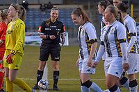 referee Jana Van Laere pictured before a female soccer game between FC Femina White Star Woluwe and Sporting Charleroi on the 2nd matchday of Play off 2 in  the 2020 - 2021 season of Belgian Scooore Womens Super League , friday 16 th of April 2021  in Woluwe , Belgium . PHOTO SPORTPIX.BE   SPP   STIJN AUDOOREN
