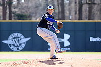 ELON, NC - MARCH 1: Cameron Edmonson #28 of Indiana State University throws a pitch during a game between Indiana State and Elon at Walter C. Latham Park on March 1, 2020 in Elon, North Carolina.