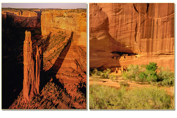 Anasazi cliff dwellings (left), Canyon de Chelly, Arizona. .  John offers private photo tours in Arizona and and Colorado. Year-round.