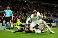 30th September 2021; Tottenham Hotspur Stadium. Tottenham, London, England; UEFA Conference League football, Tottenham v NS Mura: Amadej Marosa of NS Mura challenges Joe Rodon of Tottenham Hotspur