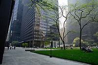 the Toronto Dominion Centre between King Street West and wellington  in downtown Toronto. Designed by Architect Ludwig Mies Van Der Roche and build between 1967 and 1969.<br /> <br />     photo by Pierre Roussel - Images Distribution