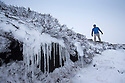 28/02/17<br /> <br /> A hiker braves snow and ice on Axe Edge Moor near  Buxton after snowfall in the Derbyshire Peak District.<br /> <br /> All Rights Reserved F Stop Press Ltd. (0)1773 550665 www.fstoppress.com