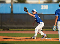 IMG Academy Ascenders first baseman Chase Ingram (20) stretches for a throw during a game against the Montverde Academy Eagles on April 8, 2021 at IMG Academy in Bradenton, Florida.  (Mike Janes/Four Seam Images)