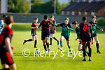 Park FC's Rodrioo Pihino and Oran Murphy of Fenit Samphires tussle for possession in the their U16 Soccer league game