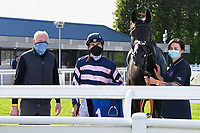 Winner of The Byerley Stud British EBF Novice Stakes (Plus 10) (Div 2) Champagne Piaff (right) ridden by Hector Crouch and trained by Gary Moore in the Winners enclosure during Horse Racing at Salisbury Racecourse on 1st October 2020