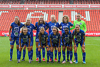 (Back row L to R) Silke Vanwynsberghe (21) of AA Gent, Lore Jacobs (17) of AA Gent, Lobke Loonen (19) of AA Gent, Feli Delacauw (44) of AA Gent, Fleur Van Daele (4) of AA Gent, goalkeeper Nicky Evrard (1) of AA Gent (front row L to R) Jasmien Mathys (12) of AA Gent, Shari Van Belle (8) of AA Gent, Emma Van Britsom (6) of AA Gent, Lore Jacobs (17) of AA Gent and Fran Meersman (5) of AA Gent pose for a team photo before a female soccer game between Standard Femina de Liege and KAA Gent Ladies on the second match day of the 2021 - 2022 season of Belgian Scooore Womens Super League , Saturday 28 th of August 2021  in Liege, Belgium . PHOTO SPORTPIX | SEVIL OKTEM