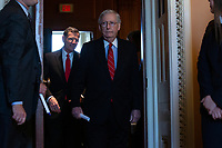 United States Senate Majority Leader Mitch McConnell (Republican of Kentucky) departs Republican Senate luncheons on Capitol Hill in Washington D.C., U.S., on Tuesday, November 5, 2019.<br />  <br /> Credit: Stefani Reynolds / CNP /MediaPunch