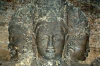 Indien, Bombay (Mumbai), Elephanta, Shiva als Mahadeva / Maheshvara im Höhlntempel, Unesco-Weltkulturerbe