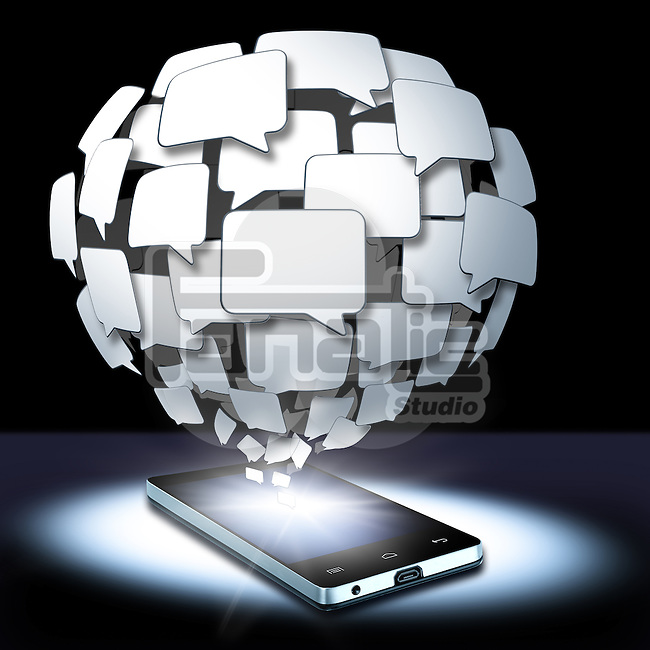 Illustrative image of chat bubbles coming out from smart phone representing social networking