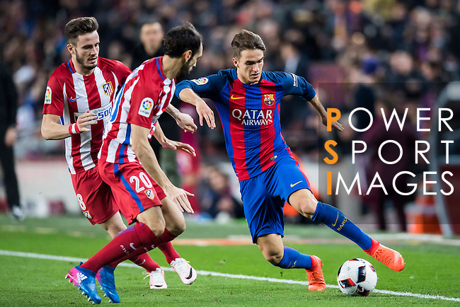 Denis Suarez Fernandez (r) of FC Barcelona battles for the ball with Juan Francisco Torres Belen, Juanfran, and Saul Niguez Esclapez of Atletico de Madrid during their Copa del Rey 2016-17 Semi-final match between FC Barcelona and Atletico de Madrid at the Camp Nou on 07 February 2017 in Barcelona, Spain. Photo by Diego Gonzalez Souto / Power Sport Images