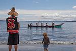 Canoe Journey, Paddle to Nisqually, 2016, Swinomish tribal canoes landing, Port Townsend, Fort Worden, Olympic Peninsula, Puget Sound, Salish Sea, Washington State, USA,