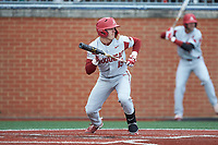 Casey Martin (15) of the Arkansas Razorbacks shows bunt during the game against the Charlotte 49ers at Hayes Stadium on March 21, 2018 in Charlotte, North Carolina.  The 49ers defeated the Razorbacks 6-3.  (Brian Westerholt/Four Seam Images)