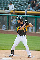 Alex Yarbrough (9) of the Salt Lake Bees at bat against the Tacoma Rainiers in Pacific Coast League action at Smith's Ballpark on May 7, 2015 in Salt Lake City, Utah.  (Stephen Smith/Four Seam Images)