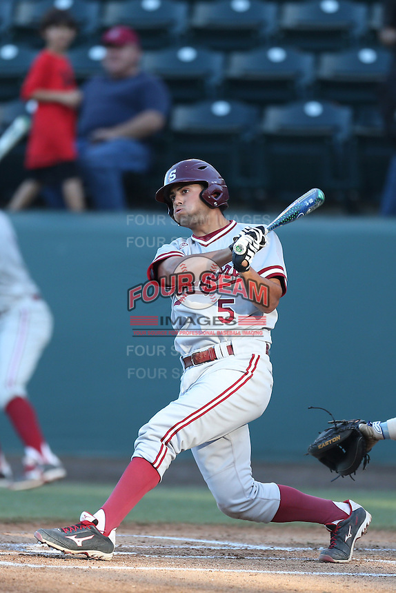 Brett Michael Doran #5 of the Stanford Cardinal bats against the UCLA Bruins at Jackie Robinson Stadium on May 2, 2014 in Los Angeles, California. UCLA defeated Stanford, 7-2. (Larry Goren/Four Seam Images)