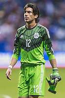 Mexico's goalkeeper Cirilo Saucedo (12) leaves the pitch at the conclusion of an international friendly at the Alamodome, Wednesday, April 15, 2015 in San Antonio, Tex. USA defeated Mexico 2-0. (Mo Khursheed/TFV Media via AP Images)