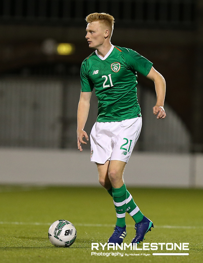 EVENT:<br /> UEFA European U21 Championship Qualifier Group 1 Republic of Ireland v Italy<br /> Thursday 10th October 2019,<br /> Tallaght Stadium, Dublin<br /> <br /> CAPTION:<br /> Liam Scales of Republic of Ireland<br /> <br /> Photo By: Michael P Ryan