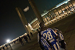 Hertha Berlin 1 Sporting Lisbon 0, 16/12/2010. Olympic Stadium, Europa League. Two home fans standing outside the stadium before Hertha Berlin's match against  Sporting Lisbon at the Olympic Stadium in Berlin in the group stages of the UEFA Europa League. Hertha won the match by 1 goal to nil to press to the knock-out round of the cup. 2009/10 was the the first year in which the Europa League replaced the UEFA Cup in European football competition. Photo by Colin McPherson.