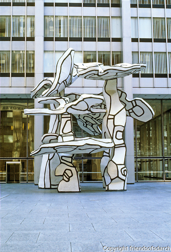 "New York: One Chase Manhattan Plaza, S-O-M (Bunshaft), 1960. Jean Dubuffet Sculpture, "" Group of Four Trees""   Made of synthetic plastic over an aluminum frame."