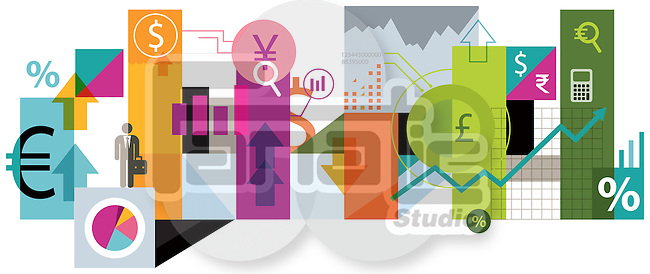 Illustrative image of collage representing online trading