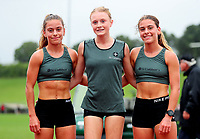 Chloe Brown (L), Isabella Richards and Bella Brown, St Cuthberts. Auckland Secondary Schools Athletic Championships, Mt Smart Stadium, Auckland, Tuesday 30 March 2021. Photo: Simon Watts/www.bwmedia.co.nz