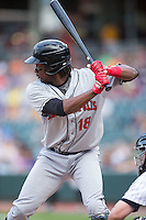 Josh Bell (18) of the Indianapolis Indians at bat against the Charlotte Knights at BB&T BallPark on June 17, 2016 in Charlotte, North Carolina.  The Knights defeated the Indians 4-0.  (Brian Westerholt/Four Seam Images)