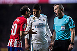 Juan Francisco Torres Belen, Juanfran (l), of Atletico de Madrid talks with referee David Fernandez Borbalan (r) as Carlos Henrique Casemiro of Real Madrid looks on during the La Liga 2017-18 match between Atletico de Madrid and Real Madrid at Wanda Metropolitano  on November 18 2017 in Madrid, Spain. Photo by Diego Gonzalez / Power Sport Images