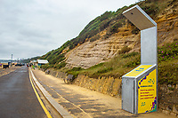 BNPS.co.uk (01202 558833)<br /> Pic: Hubbub/BNPS<br /> <br /> Pictured: A disco bin during the day in Bournemouth.<br /> <br /> Litter dropped in Britain's most popular seaside resort reduced by 75 per cent this summer thanks to a new project using drone technology. <br /> <br /> The first-of-its kind survey identified alarming litter patterns along Bournemouth beach in Dorset with a staggering 123,000 bits of litter discarded in just one week.<br /> <br /> The data was then used to target the worst areas with strategic bin placement.