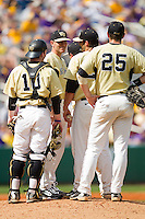 Wake Forest Demon Deacons head coach Tom Walter #32 makes a pitching change against the LSU Tigers at Alex Box Stadium on February 20, 2011 in Baton Rouge, Louisiana.  The Tigers defeated the Demon Deacons 9-1.  Photo by Brian Westerholt / Four Seam Images