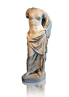 Statue of Venus Marina (Greek Goddess of love), 1st century Roma copy found near Florence. This high quality statue of Venus of Aphrodite This sculpture depicts Aphrodite in the typical pose known as the Modest Aphrodite style and is a copy of a lost 4th century BC Aphrodite of Cnidos sculpture by Athenian sculpture Praxiteles. In this aviation there is evidence that Venus leaned on a pillar with a dolphin which was a pointer to her having been born in the sea. Altes Museum Berlin