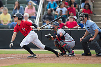 Zach Remillard (8) of the Kannapolis Intimidators follows through on his swing against the Rome Braves at Kannapolis Intimidators Stadium on April 12, 2017 in Kannapolis, North Carolina.  The Braves defeated the Intimidators 4-3.  (Brian Westerholt/Four Seam Images)