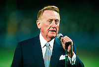 Vin Scully of the Los Angeles Dodgers during a game at Dodger Stadium in Los Angeles, California during the 1997 season.(Larry Goren/Four Seam Images)