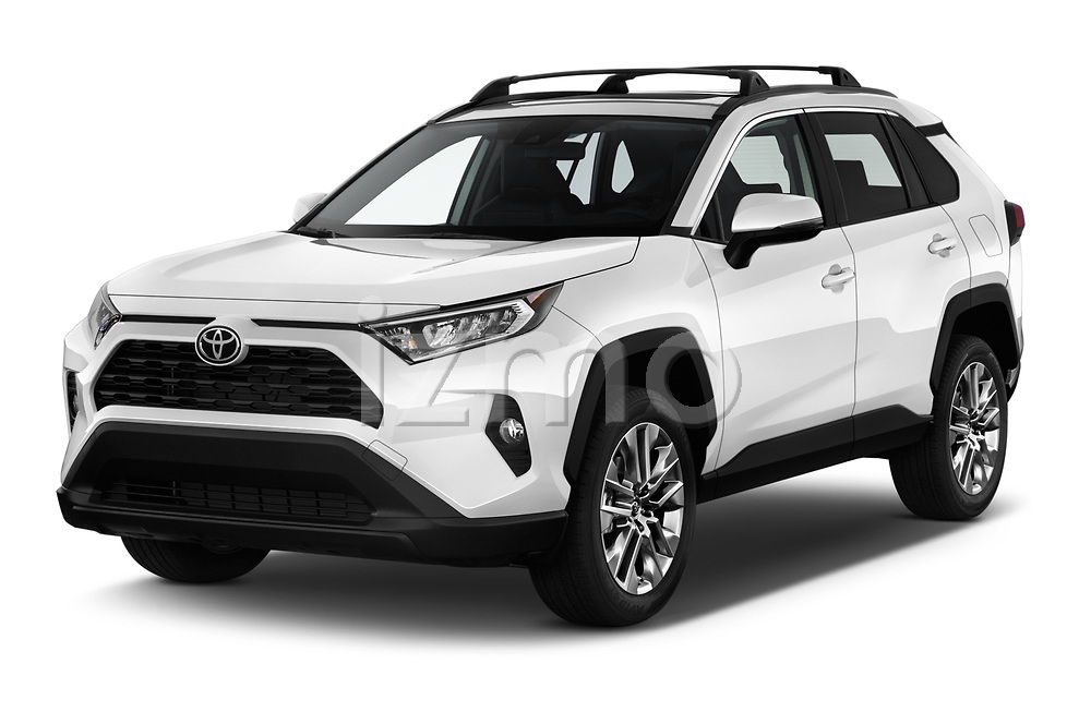 2019 Toyota RAV4 XLE Premium 5 Door SUV angular front stock photos of front three quarter view