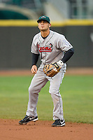 Second baseman Jaime Pedroza #6 of the Great Lakes Loons on defense versus the Dayton Dragons at Fifth Third Field April 21, 2009 in Dayton, Ohio. (Photo by Brian Westerholt / Four Seam Images)