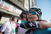 2013 Giro d'Italia.stage 6: Mola di Bari - Margherita di Savoia .169 km..Gert Steegmans (BEL) hugged to bits after a top leadout performance by stage winner Mark Cavendish (GBR) after the finish line