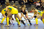 Berlin, Germany, February 09: During the FIH Indoor Hockey World Cup Pool B group match between Germany (black) and Australia (yellow) on February 9, 2018 at Max-Schmeling-Halle in Berlin, Germany. Final score 2-2. (Photo by Dirk Markgraf / www.265-images.com) *** Local caption *** Franzisca HAUKE #21 of Germany